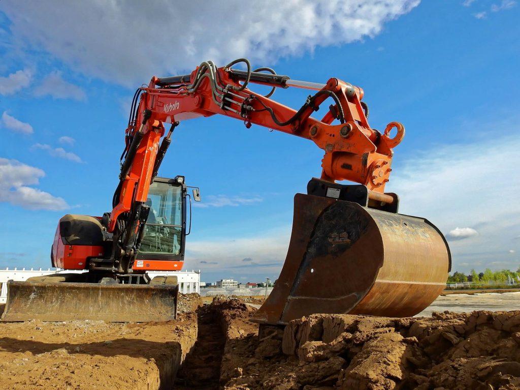 excavator lors d'un assainissement